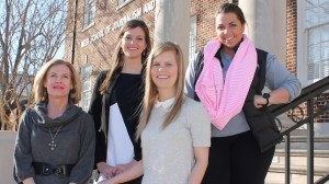 A team of University of Mississippi public relations students brought home the top prize in a Southeastern student competition that required working on-site. Pictured, left to right, are the students' PR teacher, Robin Street, lecturer in journalism and public relations, and team members Jane Lloyd Brown, Frances Allison and Alyssa Randolph.