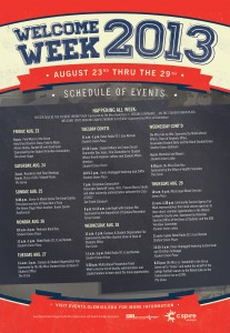 2013 Welcome Week Schedule of Events