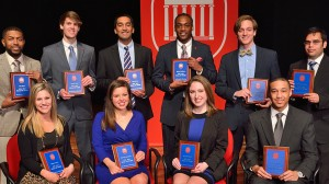 Ten seniors have earned membership in the University of Mississippi's 2013-14 Hall of Fame. (Front row, left to right) Madison Elizabeth Coburn of Ridgeland, Katharine Halpin DeRossette of Vicksburg, Mary Ball Markow of Jackson and Daniel Curtis Roberts of Moss Point. (Back row, left to right) Timothy Orinaze Abram of Horn Lake, Gregory Alston of Hattiesburg, Anish Sharma of Greenwood, Quadray Arnez Kohlhiem of Tupelo, Thomas Neal McMillin of Madison and Vinod Kannuthurai of Hazlehurst.