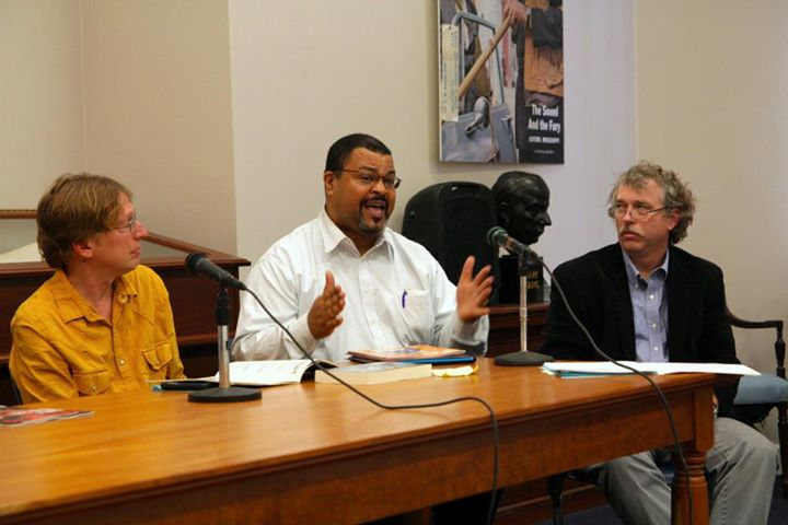 Edwin Smith, former editor of Rejoice magazine, center, speaks at the Center for The Study of Southern Culture's Music Symposium of the South in 2012.