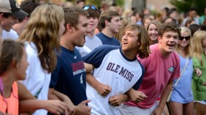 New UM freshmen practice 'Locking the Vaught' at the Class of 2016 Kick-Off Picnic Sunday evening in the Grove.  Photo by Nathan Latil - Ole Miss Communications