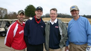 Pharmacy alumni and Dean David D. Allen (second from right) enjoy last year's Scholarship Golf Tournament.