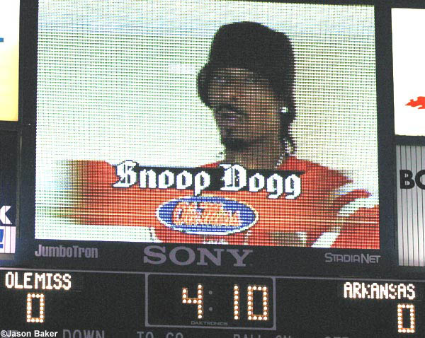 Rapper Snoop Dogg leads the Hotty Toddy cheer on the video board inside Vaught Hemingway Stadium before an Ole Miss football game. Photo courtesy of Ole Miss Sports Productions.