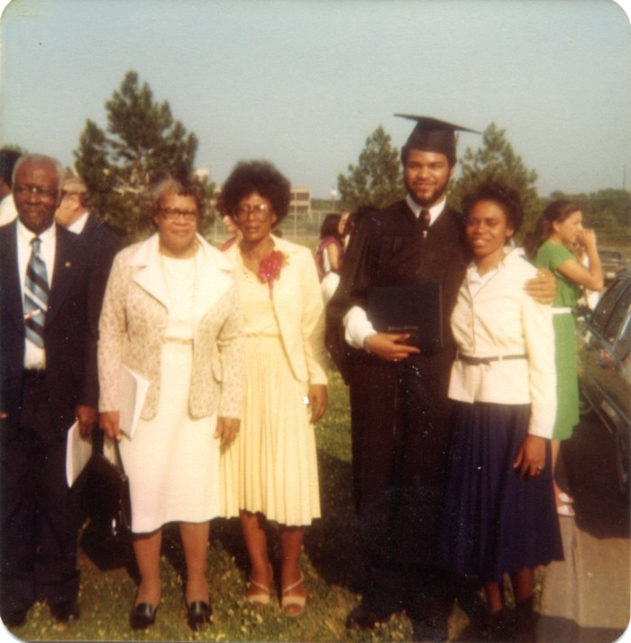 Edwin Smith (far right) with his fiance' Fannie Jenkins and members of his family near the Grove on graduation day (May, 1980).