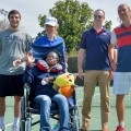 Former Ole Miss Rebel tennis player Adrian Forberg Skogeng and some other MBA students put together a benefit for the MBA entrepreneur project to raise money for a new wheelchair for Shambrica. They sold wristbands at Friday's match against Texas A&M.