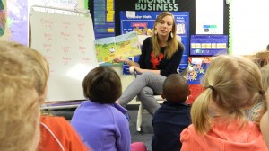 "Preschool teacher Sarah Siebert reads ""Lazy Daisy, Cranky Frankie"" to children at UM's Willie Price Lab School."