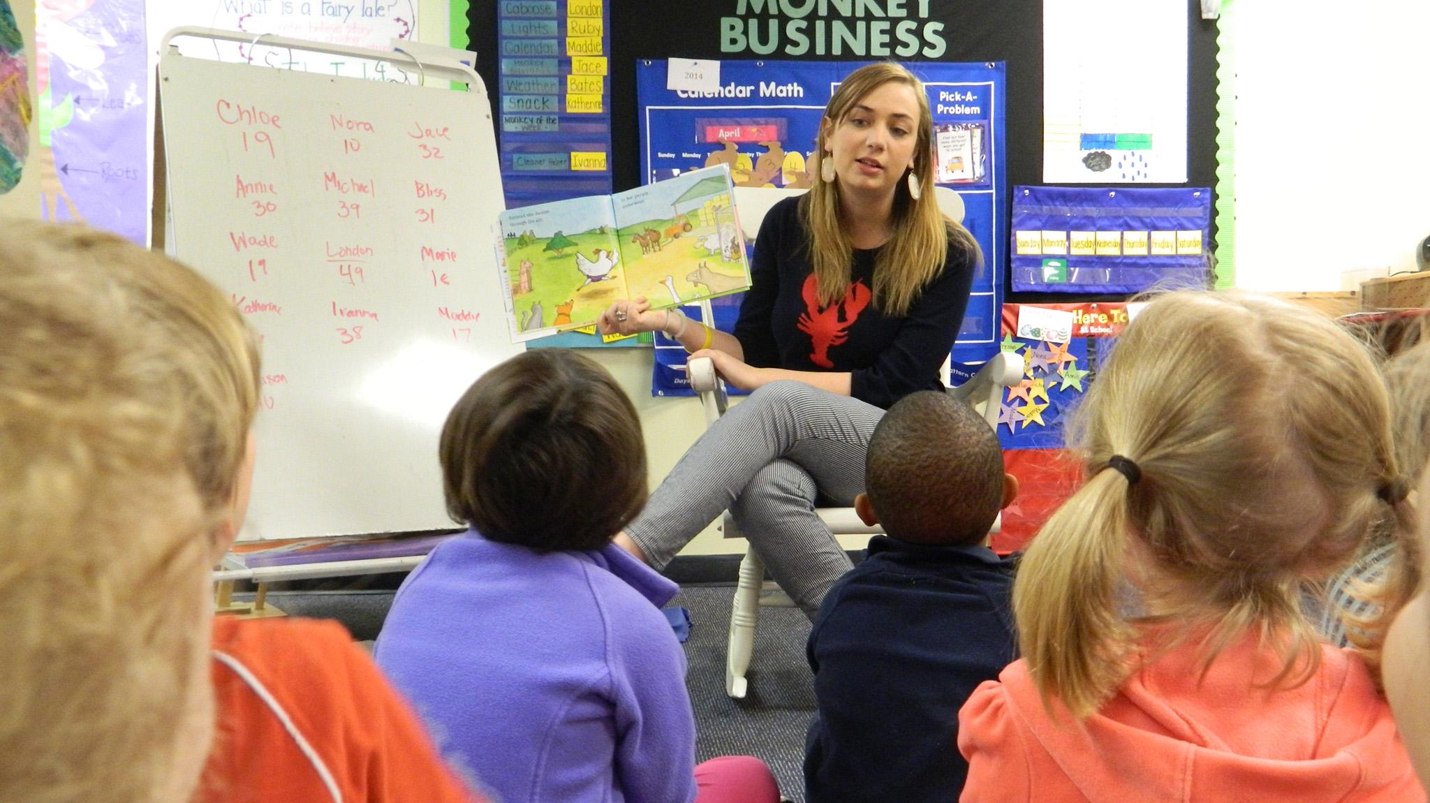 Preschool Teacher Sarah Siebert Reads Lazy Daisy Cranky Frankie To Children At UMs