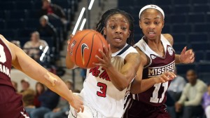Ole Miss Women's Basketball vs Mississippi State on Thursday, January 23rd, 2014 at the C.M. Tad Smith Coliseum in Oxford, MS.