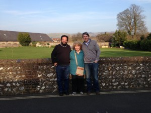 Scott Barretta (left) and Joe York with Shirley Collins in Lewes, England. Collins accompanied Alan Lomax on his 1959 trip through the South, during which the duo made the first-ever recording of Fred McDowell.