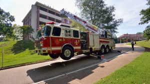 The Oxford Fire Department conducts rescue drills at several of the Ole Miss dorms, including Deaton Dormitory, before the students return for fall semester.