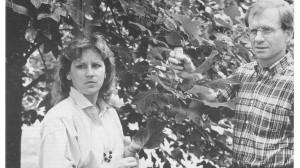 Alice Clark prepares for a lab experiment (circa 1995).