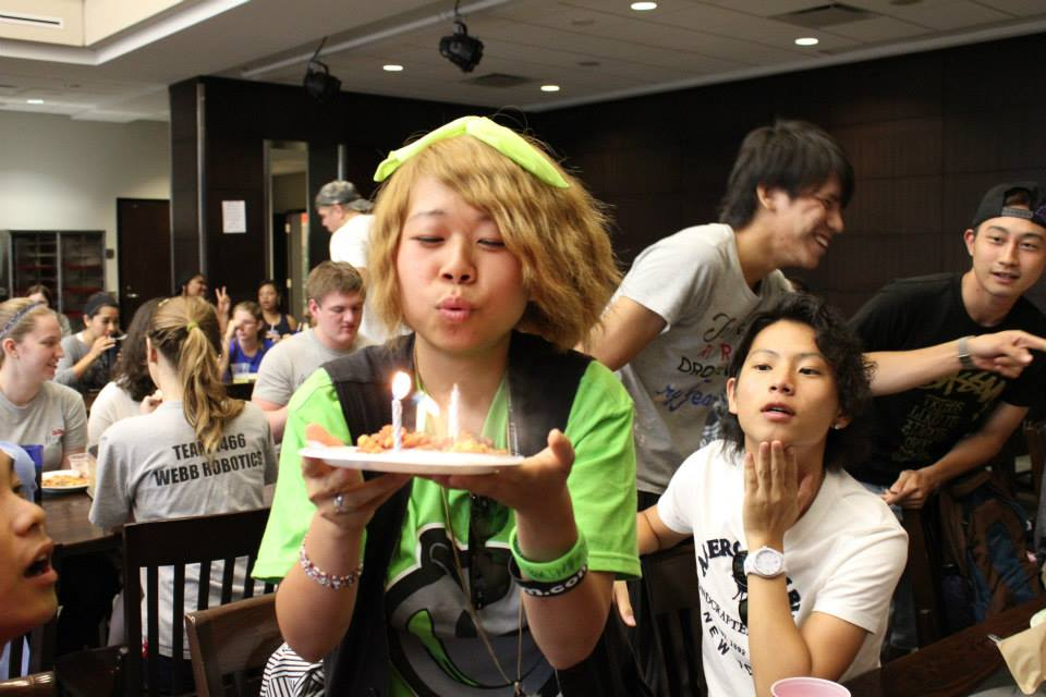 Aoi Okabe (center) from Osaka, Japan, celebrates her birthday during her UM exchange program experience in the fall of 2013.