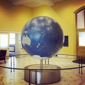 The globe at Bryant Hall, which is 6 feet in diameter, moves with the rotation of the Earth.