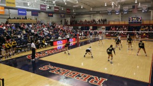 Ole Miss volleyball defeated Southern Miss 3-0 on Friday, September 20th, 2013 at the Gillom Center in Oxford, MS.