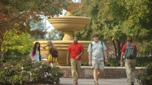 Students travel across campus in between classes.