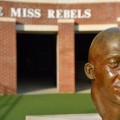 The Chucky Mullins statue stands in Vaught-Hemingway Stadium.