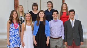 Bottom row (L to R)—Megan McLeod, Sidney Scott, Kellie Shannon, Samuel Palmer, Jacob Thrasher; Top row, (L to R)—Hailey Knight, Elizabeth Hasley, Alexis Smith, Sara Porcheddu
