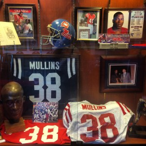 "Roy Lee ""Chucky"" Mullins' jersey hangs in the Starnes Athletic Training Center."