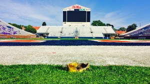 Remnants of the goal post remain at Vaught-Hemingway Stadium.
