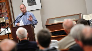 Dr. Jay Watson speaking at the opening of the Faulkner Books Exhibit.  Photo by Kevin Bain/Ole Miss Communications
