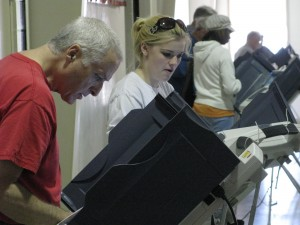 Citizens of Oxford fill out ballots on election day.