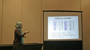 Cecille Labuda, assistant professor of physics and astronomy, shares her research at a recent conference.
