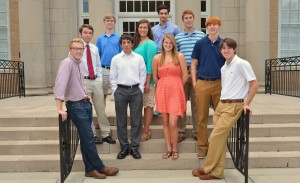From left to right: Cameron Koch, William Kalusche, Chase Rydeen, Ethan Luckett, Marin Troike, Philip Thomas, Paige Lohman, Seth Gray, Jake Azbell and Hunter Myers. Not Pictured: Anna Braswell and Jason Stone