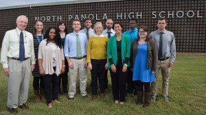 "With 14 current or former Mississippi Teacher Corps instructors on faculty, the program has played a key role in North Panola High School's academic turnaround. Pictured (left to right): MTC Co-Founder Andrew Mullins, Emily Herrick, Kelly King, Chelsea Brock, Daniel Hart, Ryan Eshleman, Whitney Cilch, Noah Tobak, Emily Fyda, ""Coach"" Derek King, Hanna Olivier and Bill Darden"