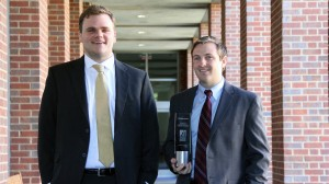 Matt Peters (left) and John Michael Allen (right) garnered  second place at the 2014 National Sports Law Negotiation Competition in San Diego.