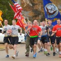 UM ROTC cadets on the first leg of the inaugural Egg Bowl Run in 2013. Photo by Nathan Latil/Ole Miss Communications
