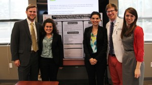 Team Rural Health In-House Pharmacy won the UM on-campus portion of the Blueprint Mississippi Social Business Challenge. (Left to Right) Nicholas Keeling, Stephanie Sollis, Dr. Erin Holmes, Andrew Smelser and Sonja Falvey. Not pictured: Kandis Backus.