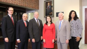 From left, Tim Walsh, Chip Crunk, Dr. Hal Moore, Trentice Imbler, Eddie Maloney and Kimsey Cooper are the Ole Miss Alumni Association officers for 2014-15. Photo by Jim Urbanek.