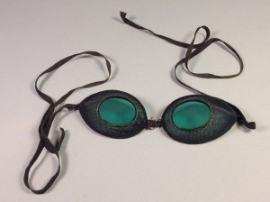This pair of late 1800s tinted mesh goggles are on display at the University Museum.