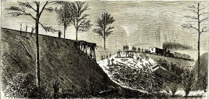 Harper's Weekly ran this illustration of the first Buckner's Trestle train crash in its March 19, 1870 edition.