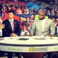 From left to right: Joe Tessitore, Tim Tebow, Marcus Spears, and Paul Finebaum broadcast SEC Nation live from the Grove prior to the Ole Miss - Tennessee football game in fall 2014. Photo by Win Graham.