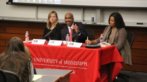 Profs. Antonia Eliason,  Larry Pittman, and Mikki Harris expounding at the Martin Luther King Commemorative Panel held at the Ole Miss Law Center