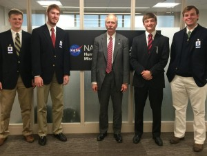 NASA Associate Administrator Bill Gerstenmaier (center) spent time with Ole Miss freshmen engineering students (from left) Reid Barber, Seth Gray, Dillon Hall and Ray Brown. (Submitted photo)