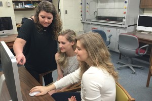 UM chemistry majors (from left) Ashley Williams, Sarah Sutton and Katelyn Allen conduct undergraduate research.
