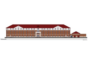 Artist rendering of residence hall currently under construction located on Northgate Drive between Crosby Hall and Northgate Apartments.