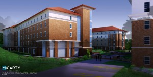 Artist rendering for Residence Halls #2 and #3  located at the former site of Guess Hall.