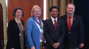 UM pharmacy administration student Sujith Ramachandran (second from left) was one of the winners at the competition at the Conference of Southern Graduate Schools held in New Orleans. He's congratulated by  Donna West, Christy Wyandt and John Kiss.