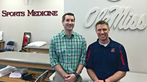 Physical Therapists Michael Brown, left, and Michael Meurrier, right, are available to treat employees and students at the Starnes Athletic Training Center.