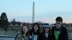 METP fellows (left to right) Rachel Parbs of Southaven, Bella Hutson of Liberty, Jenna Smiley of Meridian and Shelby Knighten of Gauthier stand in front of the Washington Monument in the District of Columbia.