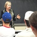Ole Miss Alumna, Josephine Howard, talks with students during a recent visit to campus.