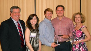 Pictured at the PRAM Prism awards banquet are Oxford/Ole Miss chapter members, all University of Mississippi employees: (from left) Danny Blanton, director of public relations; Ryan Whittington, assistant director of public relations for social media strategy; Will Hamilton, public relations assistant; Erin Parsons Garret, communications specialist, UM School of Pharmacy; and Robin Street, lecturer in journalism and public relations.  Whittington, Hamilton and Street all won awards in the competition.