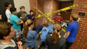 Oxford Middle Schoolers attend a special program presented by the Forensic Chemistry faculty.  These young students learned about analyzing a crime scene using DNA, toxicology and bullet analysis before having a mock trial.  Photo by Kevin Bain/Ole Miss Communications