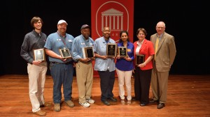 Outstanding staff members with Chancellor Jones.  Photo by Kevin Bain/Ole Miss Communications