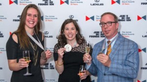 """Tina Antolini, Sara Camp Arnold Milam (center) and John T Edge at the James Beard Awards in New York City. The Southern Foodways Alliance's """"Gravy"""" has been named the James Beard Foundation's Publication of the Year."""
