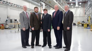 CME Director James Vaughan, Peyton Randolph and Jarrett Davis, first recipients of the Mississippi Manufactures Association Scholarship, with MS Manufactures Association Director Jay Moon and Chancellor Dan Jones. Photo by Nathan Latil/Ole Miss Communications