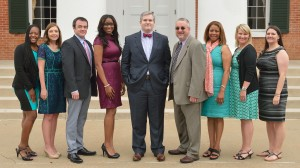 The seventh cohort of the Principal Corps (Left to Right): Melanie Wells, Leslie Mikell, Brantley Pierce, Tristal Watson, Brock Ratcliff, Brad Blake, Emma Cornwall, Kristy Dunning and Stephanie Crowell. Stephanie Crowell and Alyson Saucier not pictured. Photo by Kevin Bain/Ole Miss Communications
